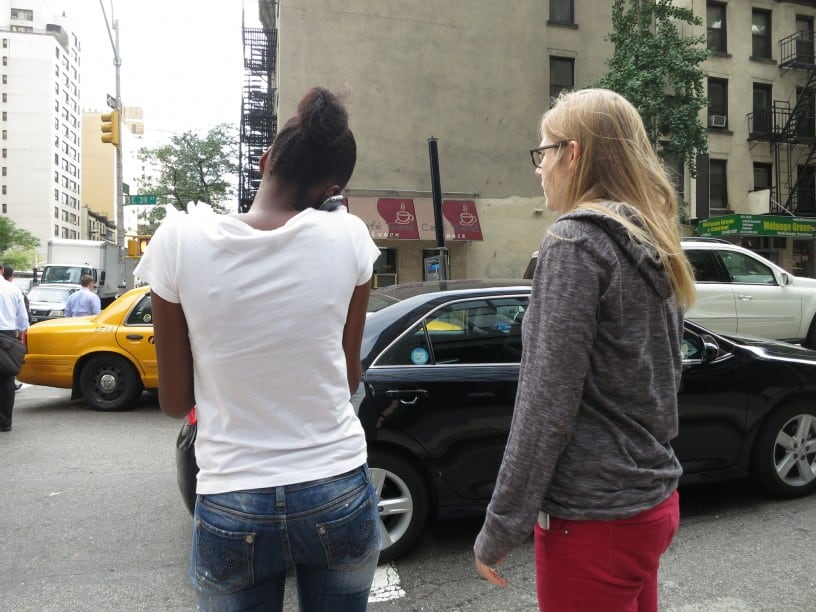 Latoya McClary (L) Katrina Fingerson (R) looking for a homeless man CREDIT: BRYCE COVERT